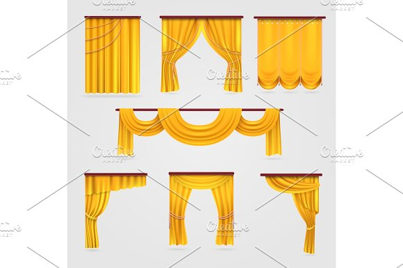 Gold Velvet Curtain Drapery Wedding Stage Decoration Vector Stock