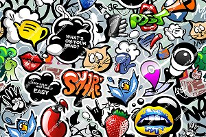 Graffiti Seamless Background & Icons