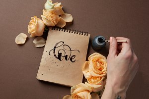 Diary or notebook with word love