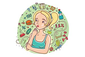 Diet girl illustration