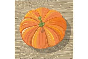 Pumpkin on Wooden Background Vector Illustration