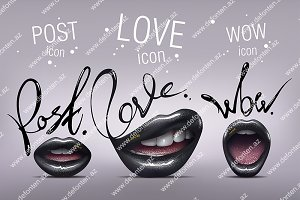 Black Sexy Lips Icons. Vector