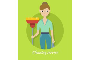 Member of Cleaning Service with Broom and Duster