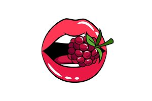 Glossy woman lips with raspberry sticker