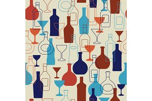 Bar background with bottles and glasses