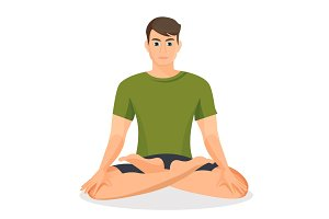 Boy in green T-shirt sitting and practicing lotus posture