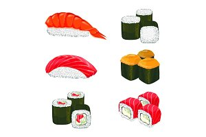 Vector banner of asian rolls with white rice, salmon ingredients