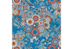 Blue floral decorative background