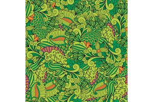 Green zentangle leaves ornamental pattern