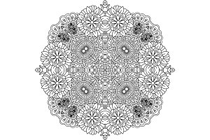 Floral zentangle round decorative element