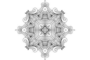 Floral zentangle decorative element