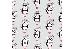 Funny Penguins Seamless Pattern Vector in Flat Design