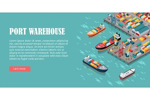 Cargo Port Illustration in Isometric Projection