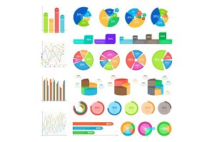 Collection of Infographics Colourful on White