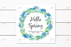 Watercolor Blue Wreath PNG clipart