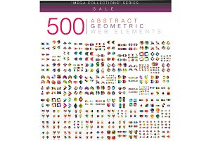 Huge mega set of 500 business paper origami style option infographic banners
