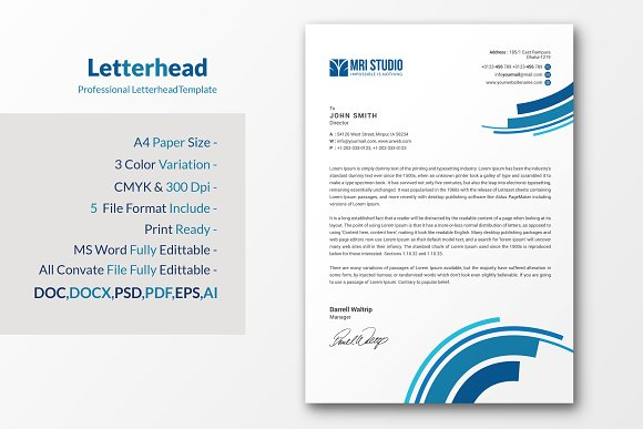 Simple letterhead stationery templates creative market spiritdancerdesigns Image collections