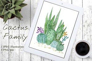 Watercolor Cactus Family print