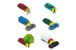 Car crash, emergency disaster. Auto accident involving car crash city street. Flat 3d vector isometric illustration