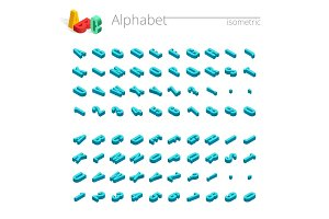 Isometric alphabet vector font. letters, numbers and symbols.