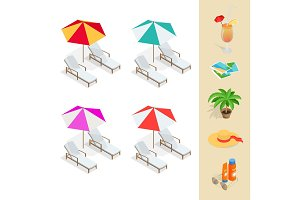 Isometric Beach icon set. Flat 3d vector illustration.