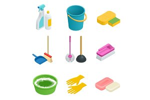 Isometric set of cleaning tools