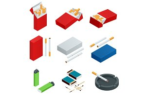 Isometric Box of matches, Lighters, cigarettes pack