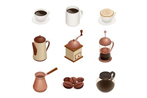 Isometric Coffee Icons