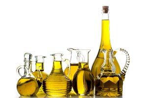 Set of extra olive oil bottles