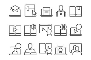 Online education e-learning icons