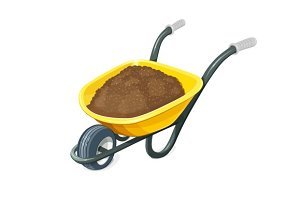 Wheelbarrow with ground. Gardening