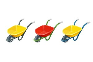 Wheelbarrow. Gardening tools.