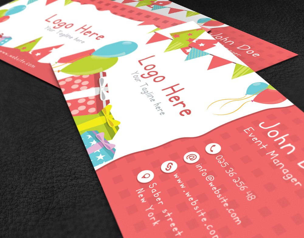 Kids Party Business Card Templates Creative Market
