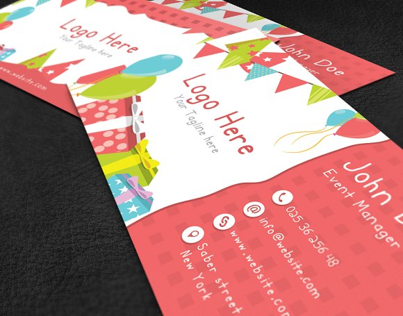 Kids Party Business Card Business Card Templates Creative Market - Kid business card template