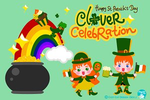 Digital Clipart Clover Celebration