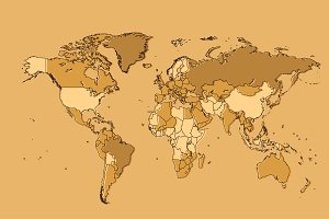 World map cream with borders vector
