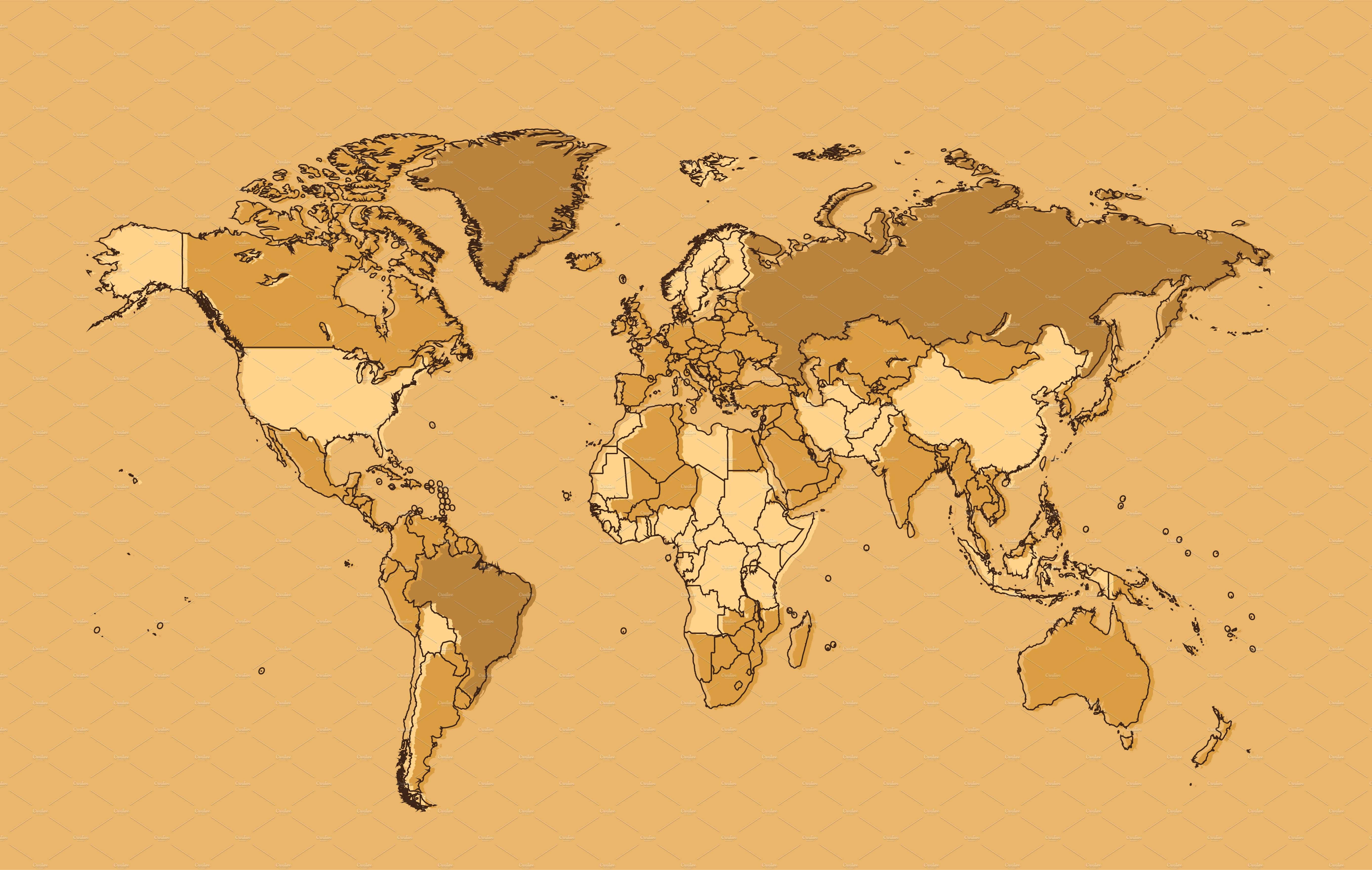 World map cream with borders vector graphics creative market gumiabroncs Gallery