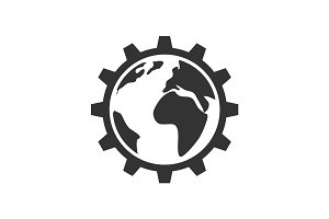 Planet inside the gear icon