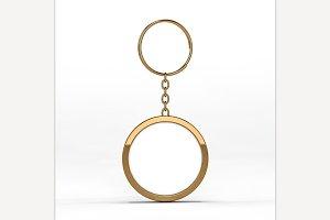 Blank gold keychain. Mockup