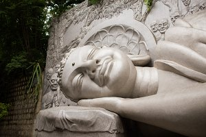 Lying sleeping Buddha in Long Son Pagoda, Nha Trang, Vietnam