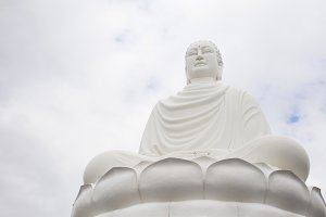 Sitting white Buddha in Long Son Pagoda, Nha Trang, Vietnam
