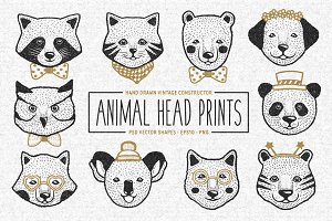 Animal Head Prints Set
