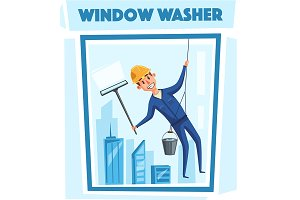Profesional worker cleaning windows