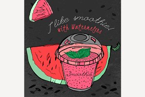 Hand Drawn Watermelon Smoothie