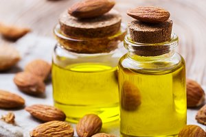 Natural sweet almond essential oil for beauty and spa
