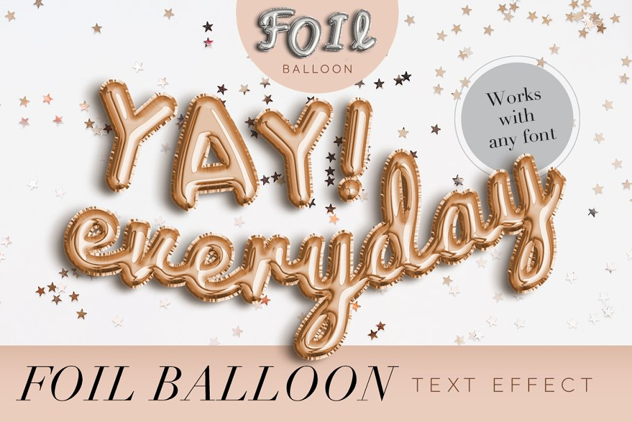 FOIL BALLOON TEXT EFFECT ~ Photoshop Add-Ons ~ Creative Market
