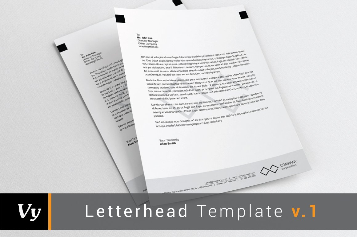 Letterhead Template v.01 ~ Stationery Templates ~ Creative Market