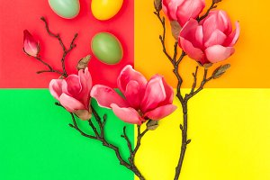 Easter eggs and magnolia flowers