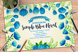 Watercolor Simple Blue Floral