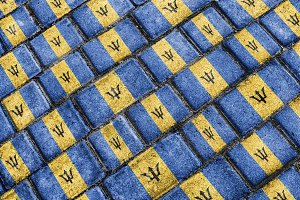 Barbados Flag Urban Grunge Pattern